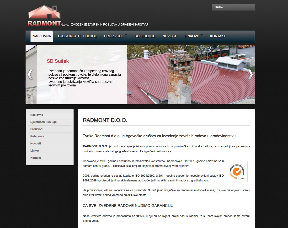 Designed Joomla! 2.5 website - radmont.hr